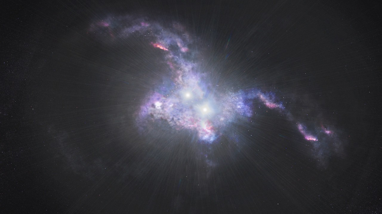Artist's conception of quasars in merging galaxies